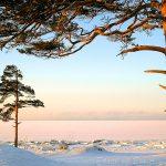 зимний закат на белом море