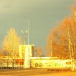 """Закатное солнце и стадион """"Север"""""""
