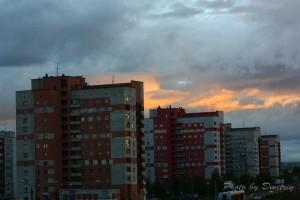 Небесный пожар - ночной Северодвинск