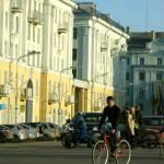 Велосипедисты на пл. Ленина